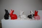 N.O.H, (nope . open. hope), 2015 Ceramic rabbits and oil paint